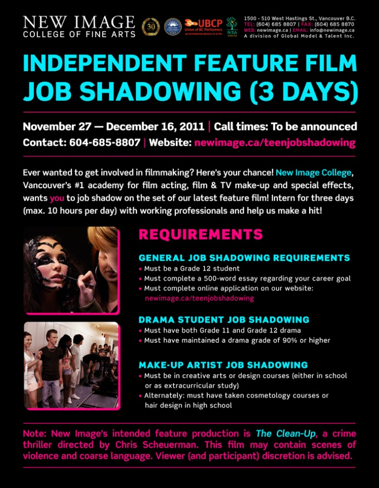 job shadowing opportunity film drama make up tamanawis  image